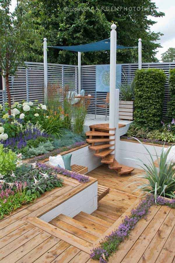 23 impressive sunken design ideas for your garden and yard for Garden design decking areas