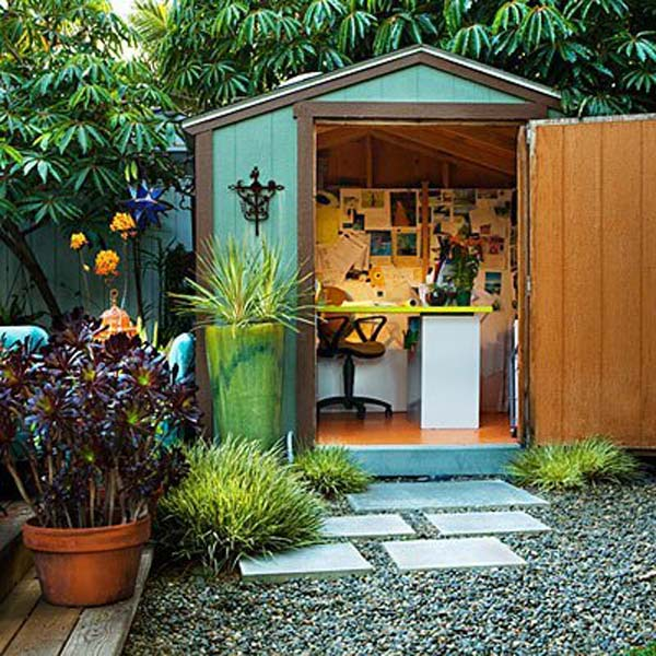 Backyard shed office you would love to go to work for Outside office shed