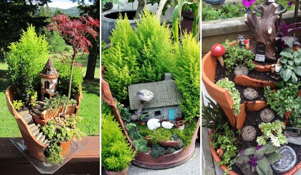 Stunning Ideas To Build A Fairy Tale Garden In Broken Pot