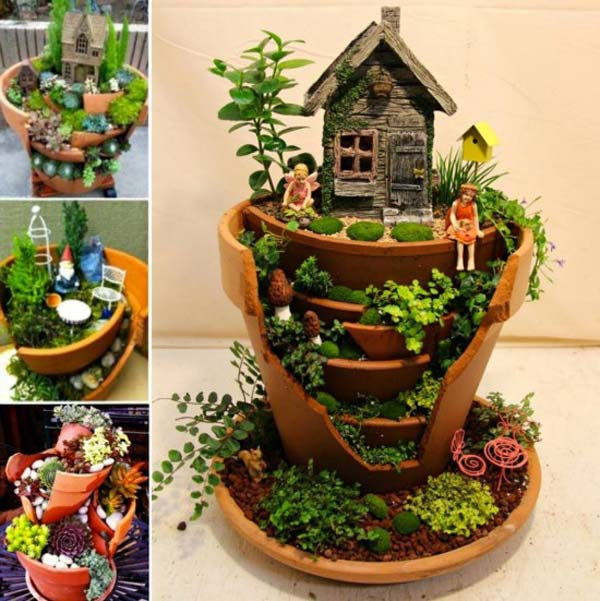 15 Creative Garden Ideas You Can Steal: Stunning Ideas To Build A Fairy Tale Garden In A Broken Pot