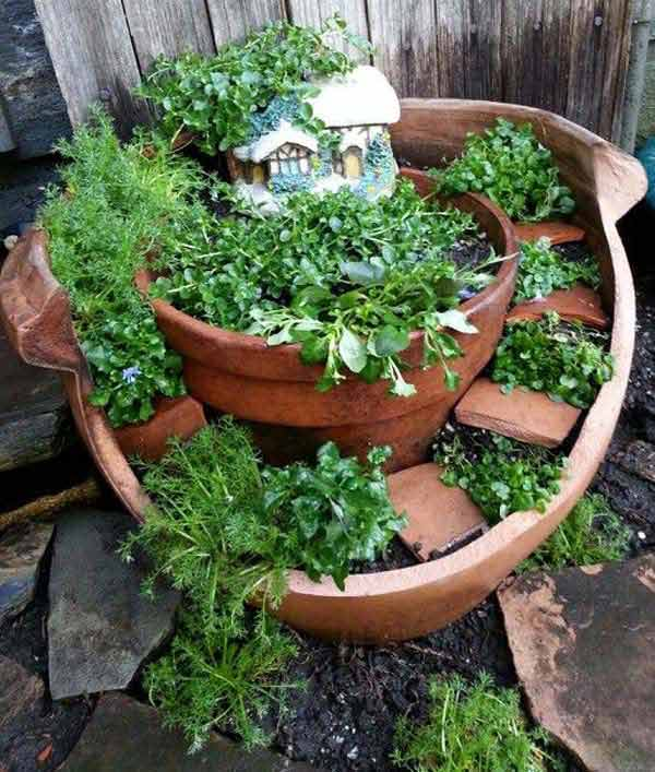 Pot Garden Ideas spectacular container gardening ideas southern living Broken Pot Fairy Garden 8