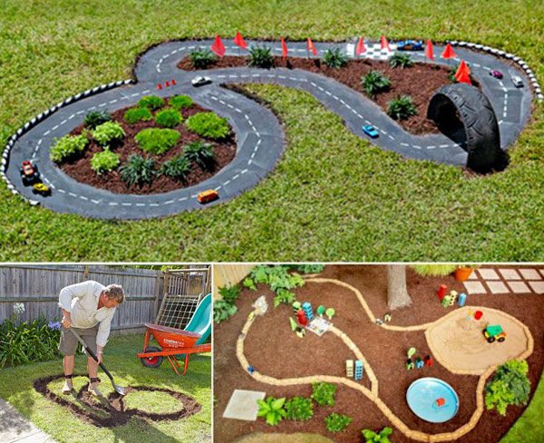 Backyard diy race car tracks your kids will love instantly Kids garden ideas