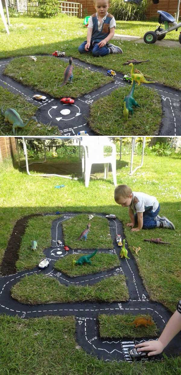 backyard diy race car tracks your kids will love instantly. Black Bedroom Furniture Sets. Home Design Ideas