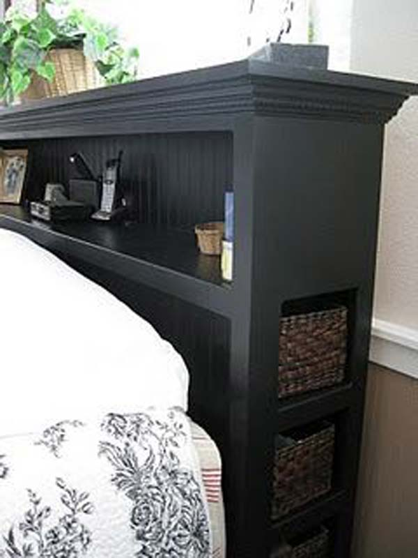 Shelf Headboard Ideas Part - 23: Headboard-storage-idea-woohome-7