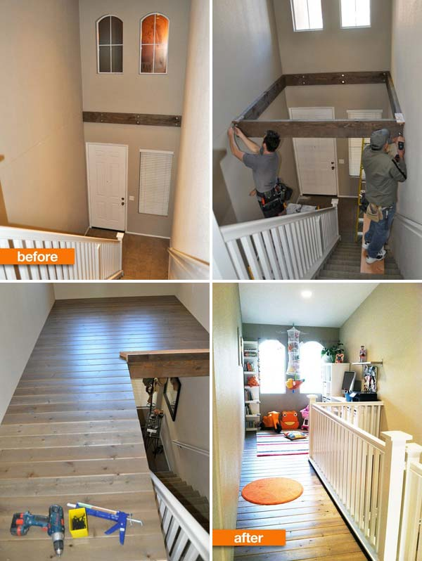 insanely clever use of a dead space above a staircase amazing diy