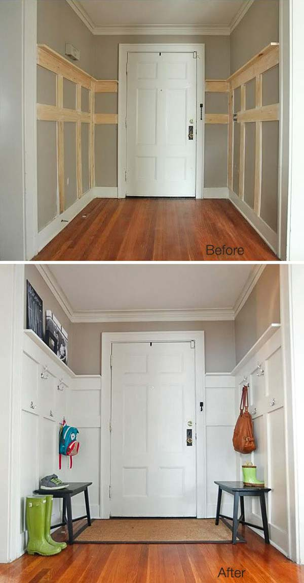 Insanely clever use of a dead space above a staircase Paneling makeover ideas