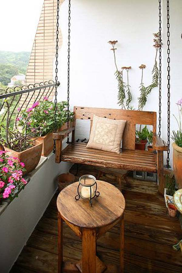 26 tiny furniture ideas for your small balcony amazing for How to decorate terrace with plants