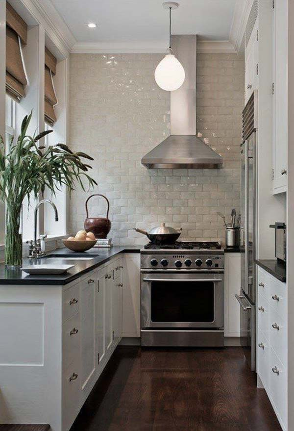 19 practical u shaped kitchen designs for small spaces for Tiny kitchen remodel