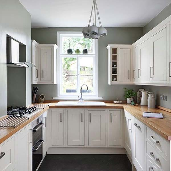 19 practical u shaped kitchen designs for small spaces for Small white country kitchen