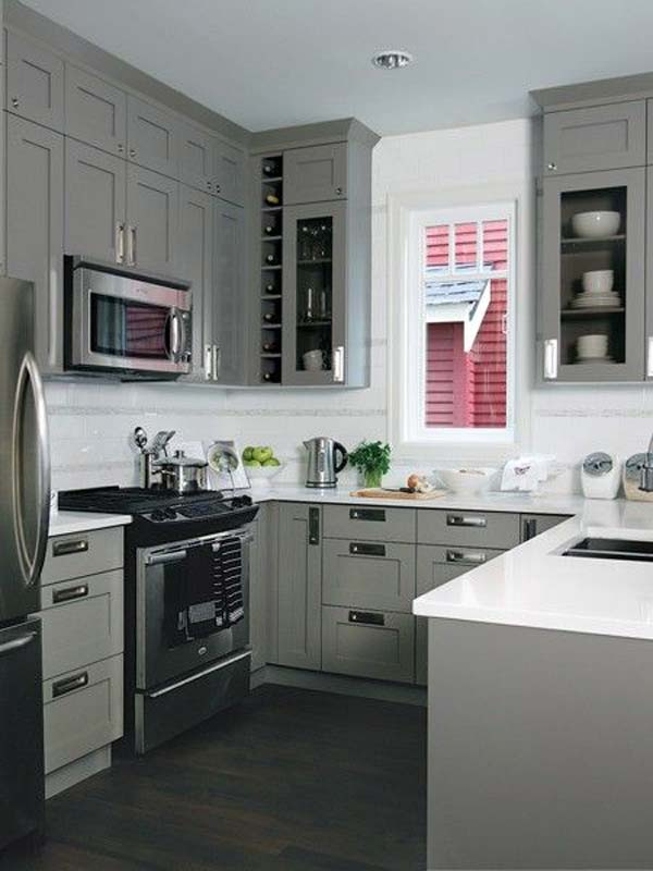 19 practical u shaped kitchen designs for small spaces for Kitchen designs grey