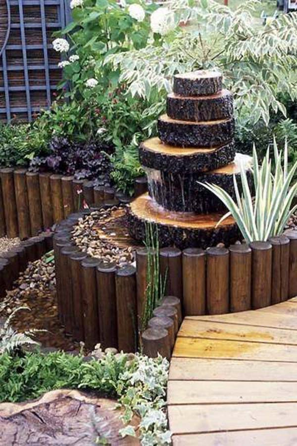 build a log or wood slice fountain for backyard amazing diy interior home design. Black Bedroom Furniture Sets. Home Design Ideas