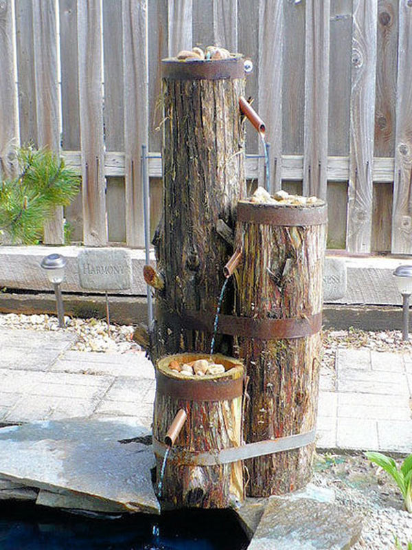 Build A Log Or Wood Slice Fountain For Backyard Amazing