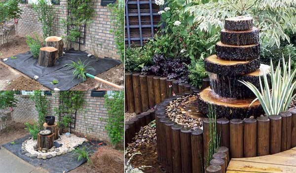 Build a Log or Wood Slice Fountain for Backyard