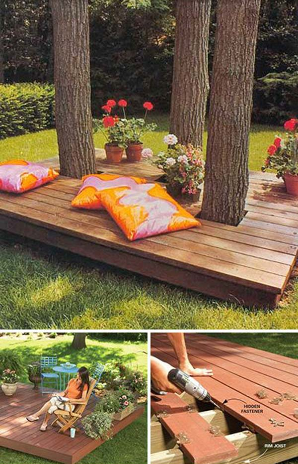 Top 19 Simple and Low-budget Ideas For Building a Floating ... on Diy Backyard Deck Ideas id=34016