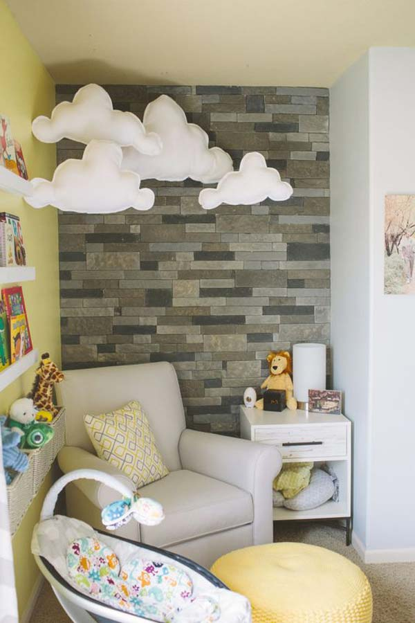 19 adorable clouds and stone wall in a nursery nook