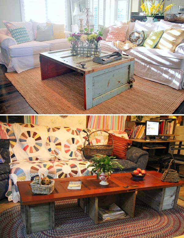 01 Old Door Turned Coffee Table Woohome