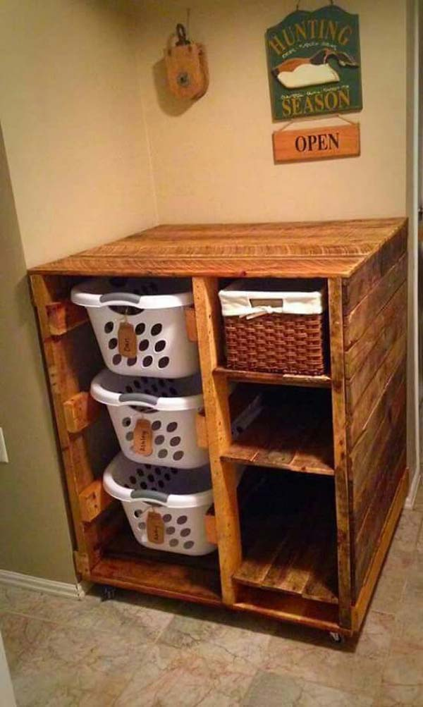 Best Laundry Room Ideas: The Best 24 DIY Pallet Projects For Your Bathroom