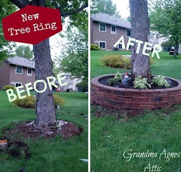 12 Amazing Ideas For Flower Beds Around Trees: DIY Ideas For Creating Cool Garden Or Yard Brick Projects