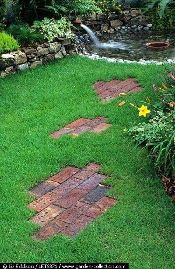 Diy ideas for creating cool garden or yard brick projects - Yard stepping stone ideas ...