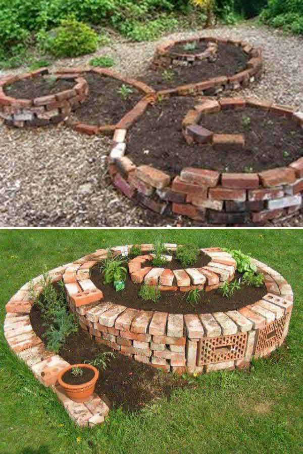 Diy ideas for creating cool garden or yard brick projects for Cool back garden designs