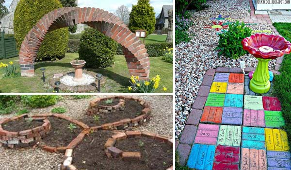 diy ideas for creating cool garden or yard brick projects, Backyard Ideas