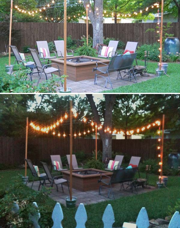 1. Place four wooden posts in four buckets filled with cement, and then  hang some clear bulbs. - 15 DIY Backyard And Patio Lighting Projects - Amazing DIY, Interior