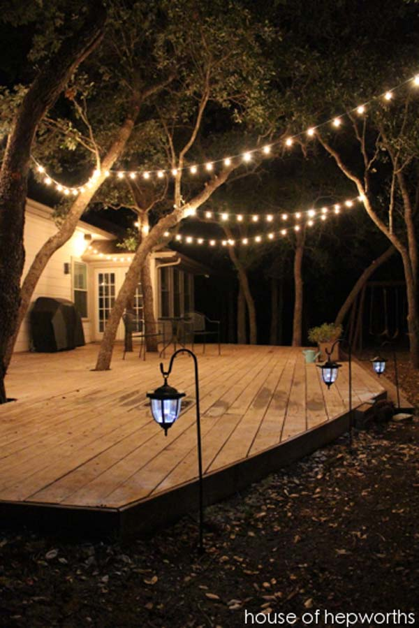 15 diy backyard and patio lighting projects amazing diy Outdoor string lighting
