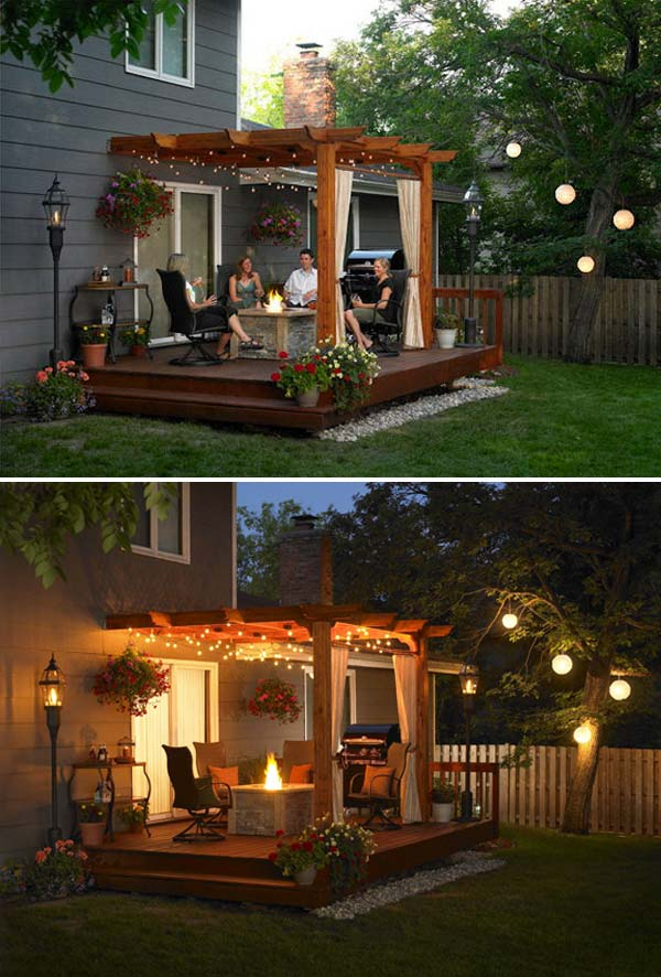 backyard pergola with string lighting can often be a wonderful