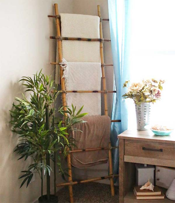 easy bamboo interior decoration. A simple blanket ladder for your bathroom  Top 21 Easy and Attractive DIY Projects Using Bamboo Amazing