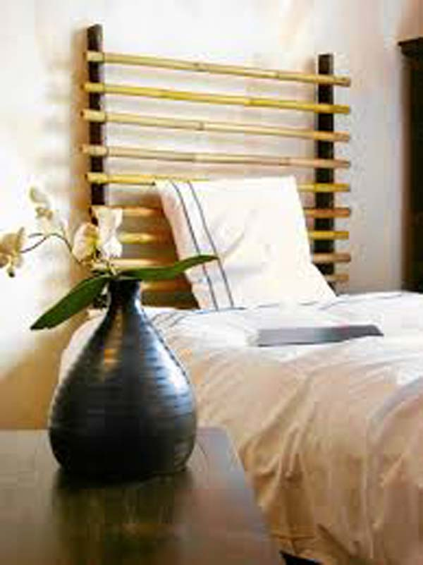easy bamboo interior decoration. Headboard made from two wooden sticks and some bamboo poles  Top 21 Easy Attractive DIY Projects Using Bamboo Amazing