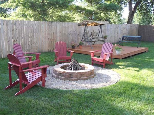 Build round firepit area for summer nights relaxing for Patio ideas with fire pit on a budget