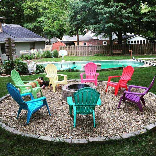 Ideas For Garden Design Relax: Build Round Firepit Area For Summer Nights Relaxing