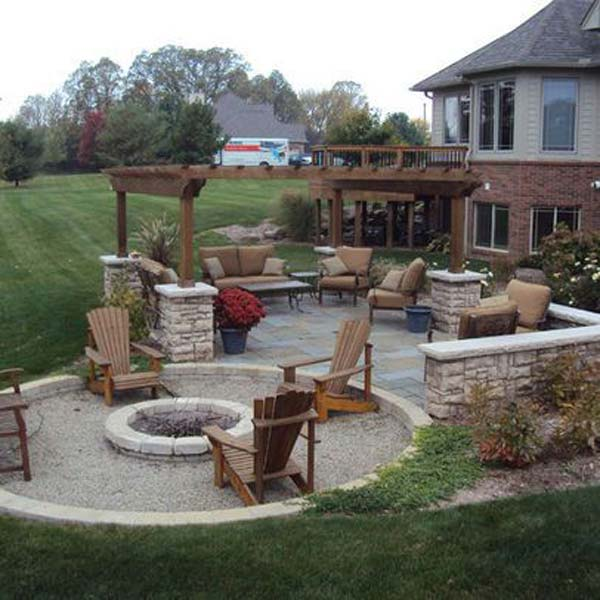 Build round firepit area for summer nights relaxing for Large backyard landscaping ideas