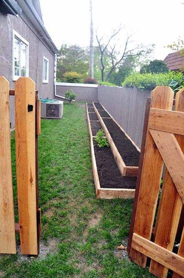 Garden Ideas For Narrow Spaces narrow space designs woohome 12 Build Long And Narrow Garden Beds Along The Yard Fence