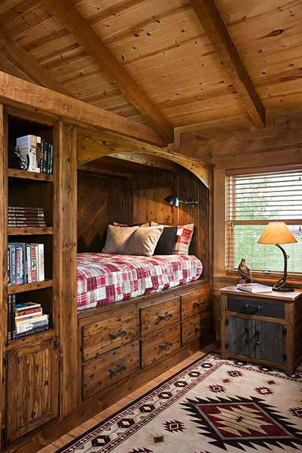 22 charming alcove bed designs that you must see amazing for Log cabin style bunk beds