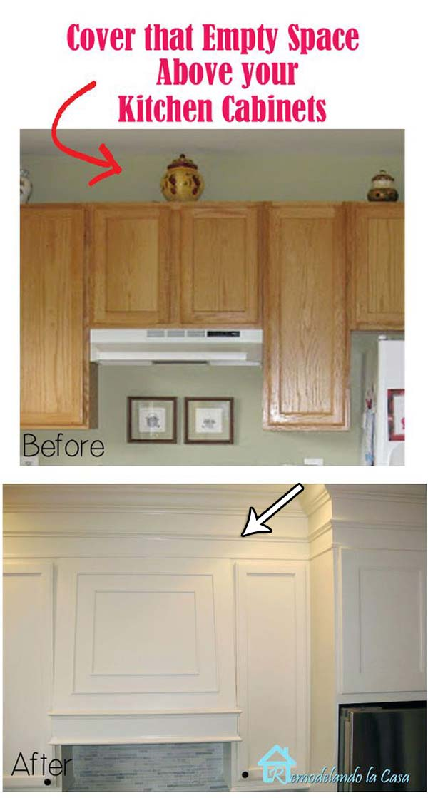 20 inexpensive ways to dress up your home with molding for Adding crown molding to existing kitchen cabinets