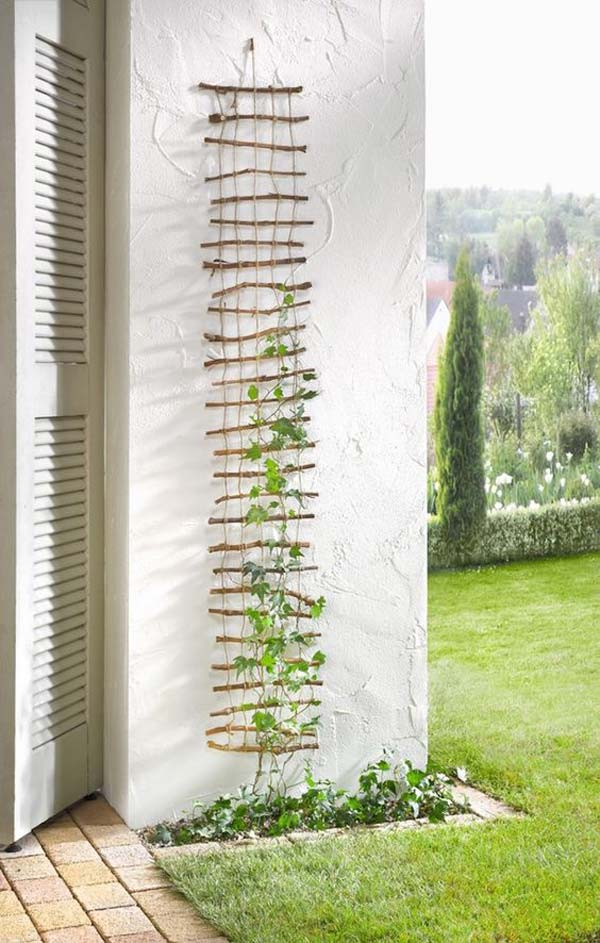 Make A Lattice With Twigs And Rope For Your Garden Climbing Vines