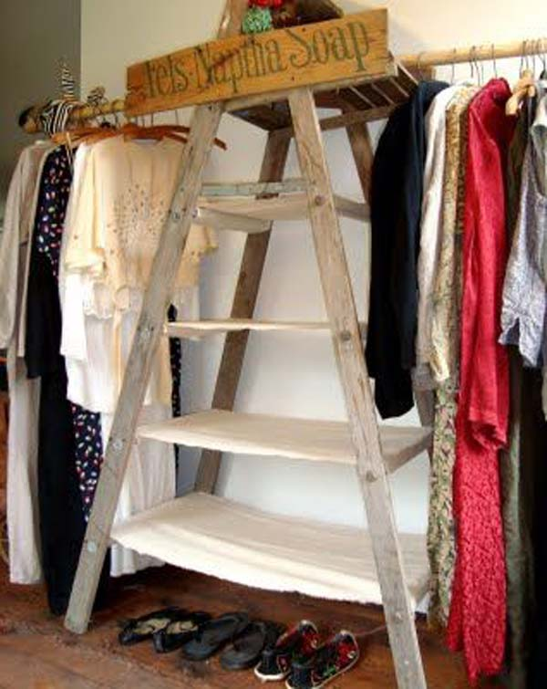 Old Ladders Turned Into Super Easy Clothes Racks Diy Closet Ideas 09