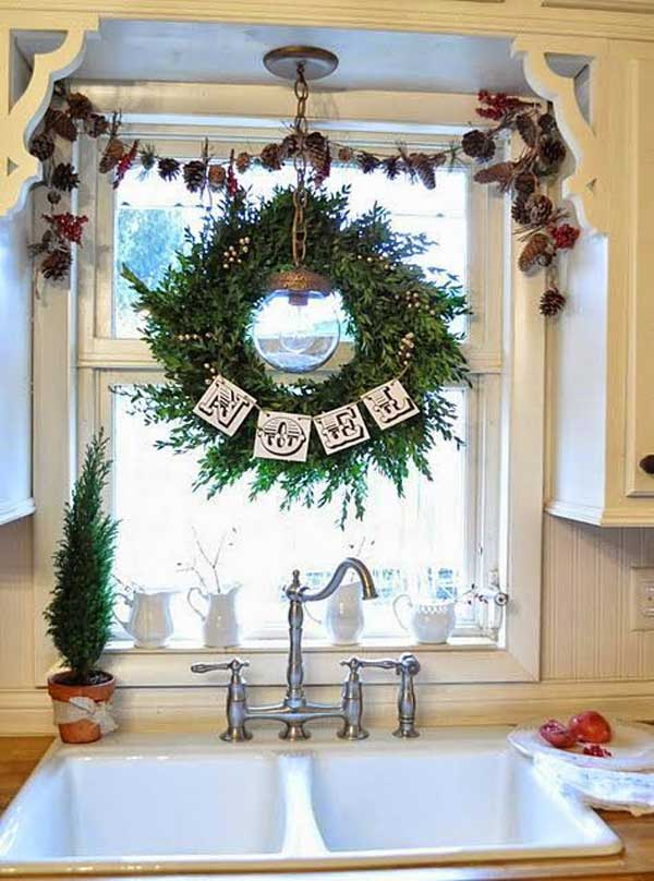 24 Fun Ideas Bringing The Christmas Spirit into Your Kitchen ... Holiday Decorating Ideas For Kitchen Window on country decorating with old windows, decorating ideas for living room, decorating ideas for bedrooms, decorating ideas for fireplaces, decorating above kitchen window ideas, decorating ideas for dining room, decorating ideas for doors, decorating ideas for vaulted ceilings, decorating ideas for mirrors, decorating ideas for decks, decorating ideas for floors,