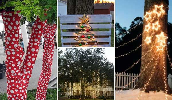 10 Cool Ideas to Decorate Garden or Yard Trees for Christmas - 10 Cool Ideas To Decorate Garden Or Yard Trees For Christmas