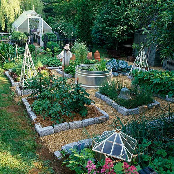 Use Landscaping Rocks To Build A Series Of Raised Garden Beds And Put A  Galvanized Water Trough In The Center Of Garden For Easy Watering: