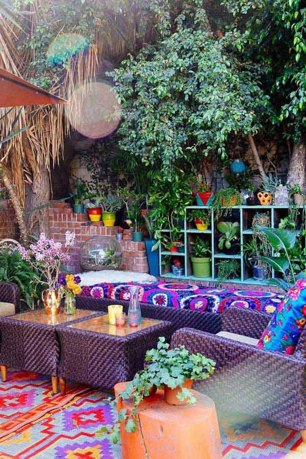 Top 34 Amazing Garden Decor Ideas in Bohemian Style ... on Chic Patio Ideas id=62274