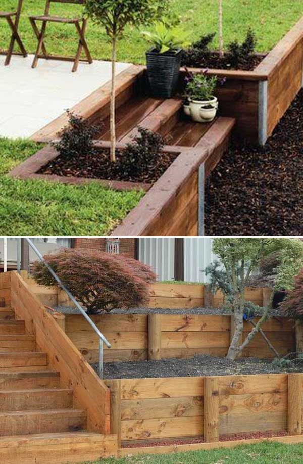 how to build a retaining wall with wooden sleepers