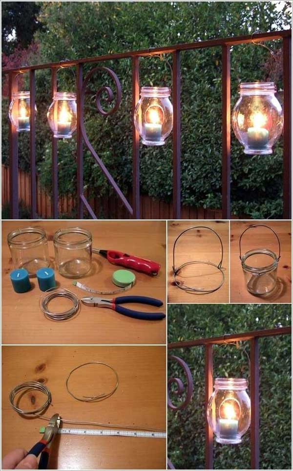 diy outdoor lighting. 20. Hang These Mason Jar Luminaries On The Railing. Diy Outdoor Lighting L