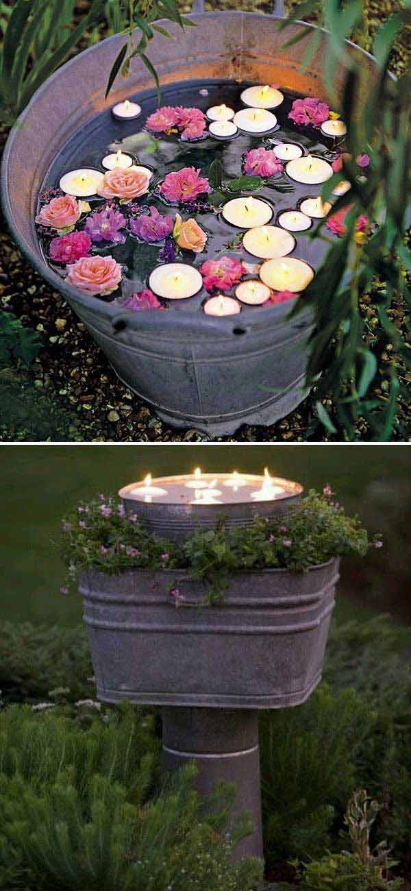 candles bucket can be a simple and romantic backyard decoration