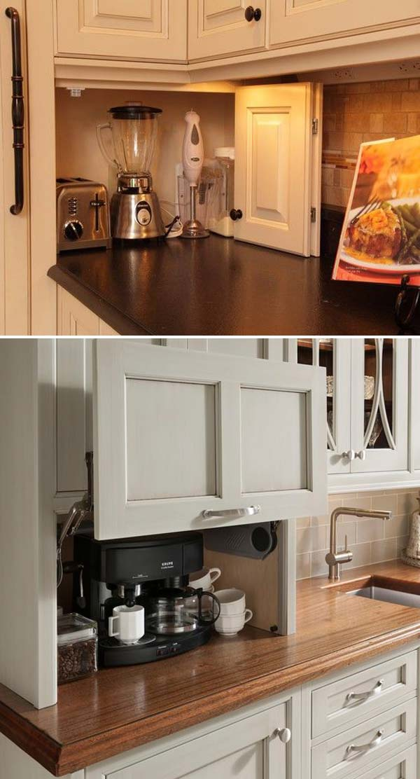 1. Build A DIY Friendly Appliance Garage To Help You Get Rid Of A  Countertop Cluttered With Small Kitchen Appliances Such As Coffeepot,  Toaster And Even ...