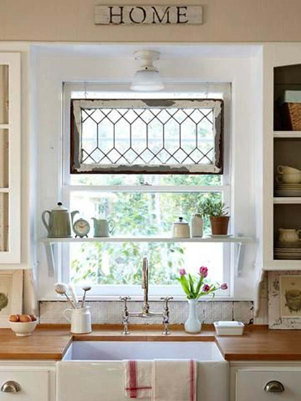 Mounting A Few Shelves Inside Your Kitchen Window Will Let You Get Extra Surface E For Storage