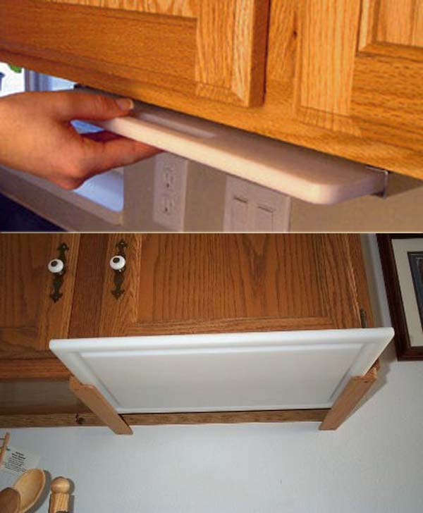 Top 21 awesome ideas to clutter free kitchen countertops for Diy cutting board storage