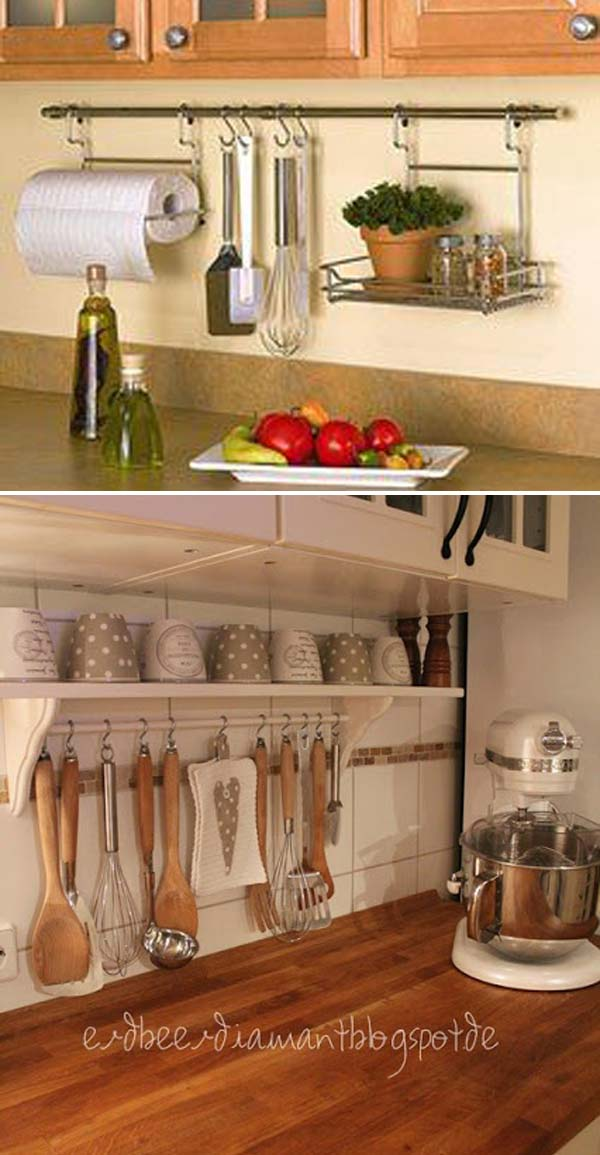 Curtain Rod With Hooks To Hang Up Utensils Is A Simple Way Help You Get Rid Of Countertops Clutter