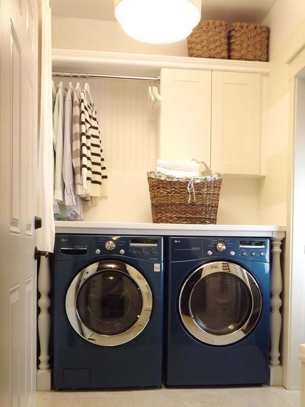 Genial Remove An Upper Cabinet And Install A Rod To Hang Clothes So They Can Air  Dry.
